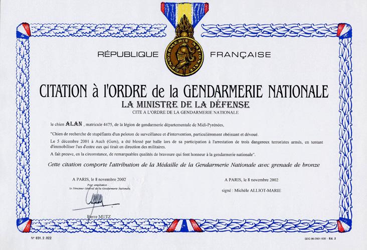Diplome de citation à l'ordre de la gendarmerie nationale du chien Alan dans le Gers